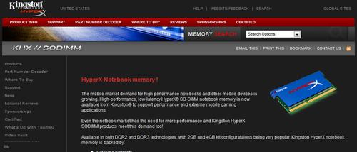 Kingston HyperX Notebook Memory